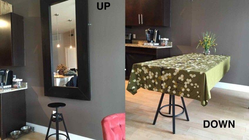 Une table de salle à manger cachée avec un miroir IKEA Salons