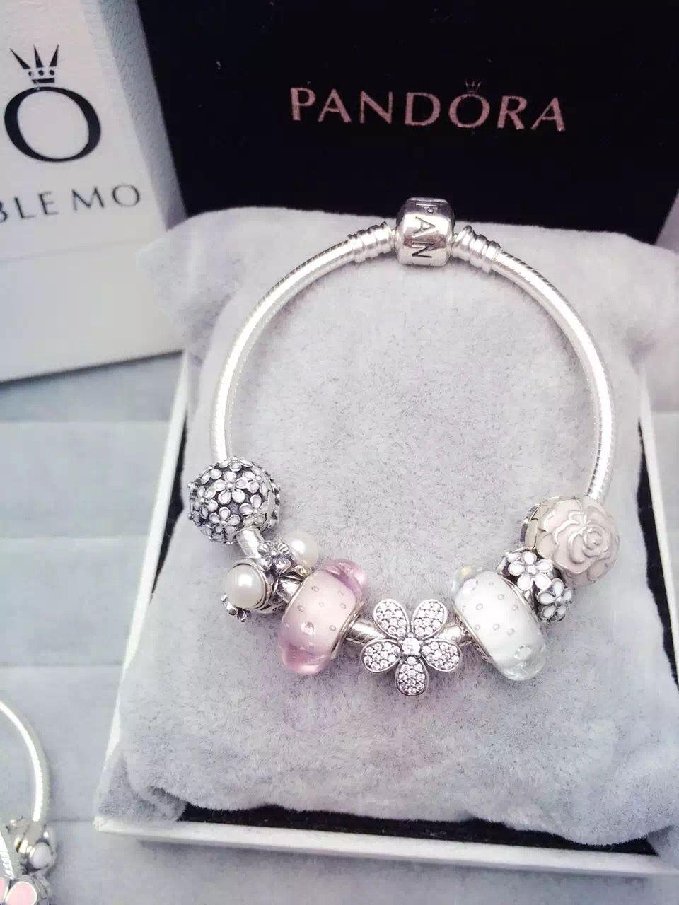 199 pandora charm bracelet white pink hot sale