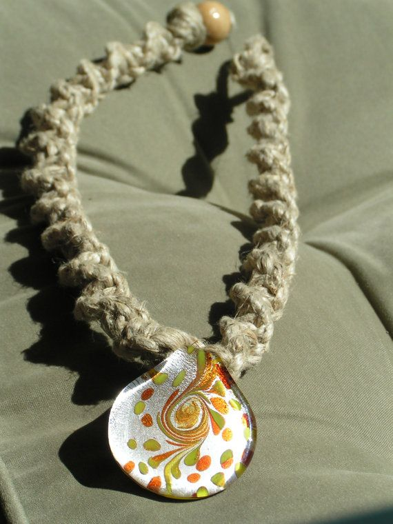 Orange and yellow glass pendant hemp necklace by amber42490 orange and yellow glass pendant hemp necklace by amber42490 1200 mozeypictures
