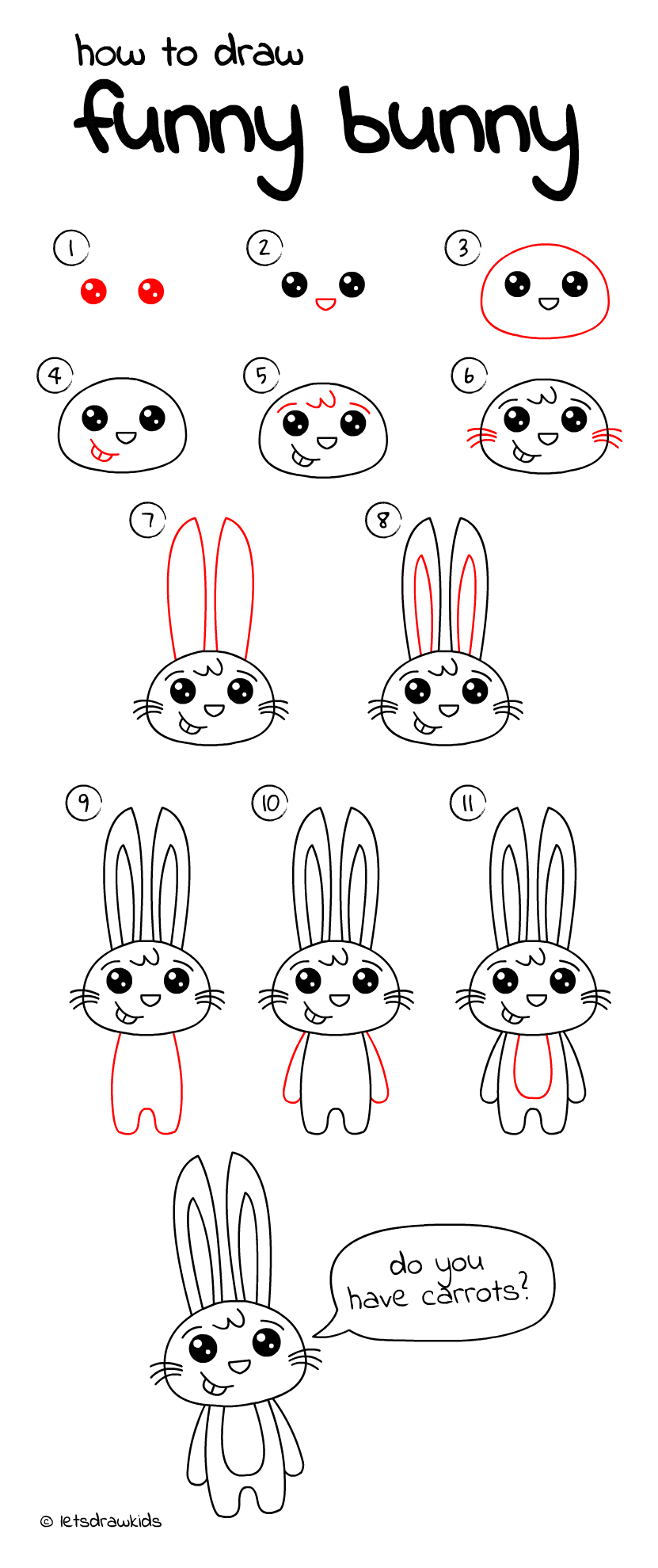 How to draw funny bunny easy drawing step by step perfect for kids