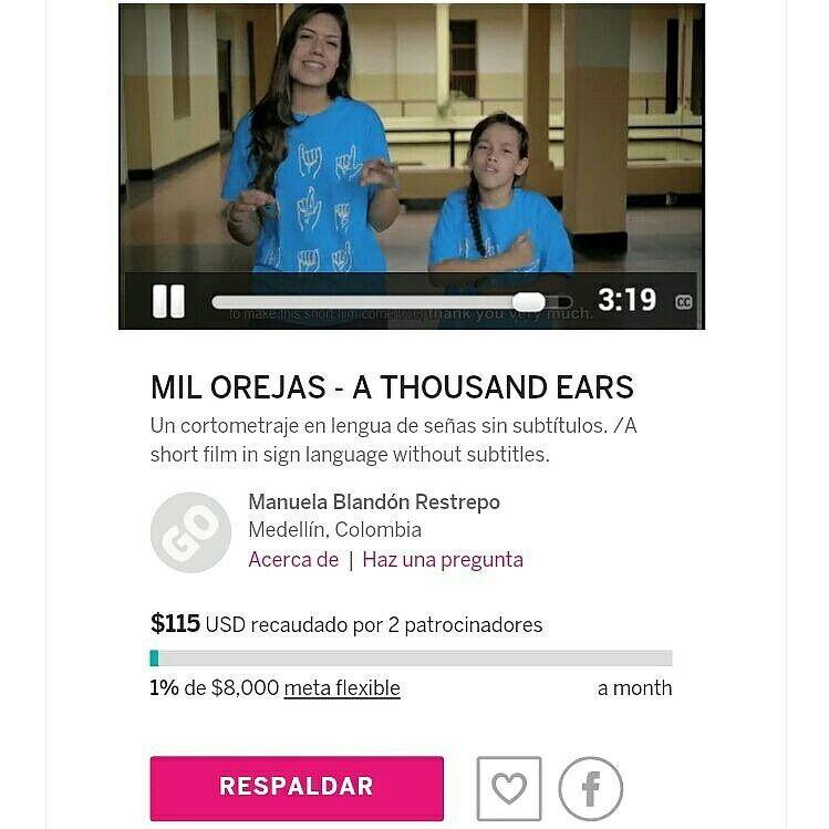Con este mensaje: Hagamos realidad el sueño de Rosita y el de muchos niños sordos en Colombia. https://www.indiegogo.com/projects/mil-orejas-a-thousand-ears--2#/ #Campaña #Crowdfunding #yosoycinecolombiano #MilOrejas #Cortometraje #Shortfilm #Film #Cine #Colombia @alcaldiademed