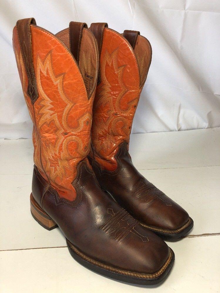 Ariat mens tombstone brown orange western cowboy boots