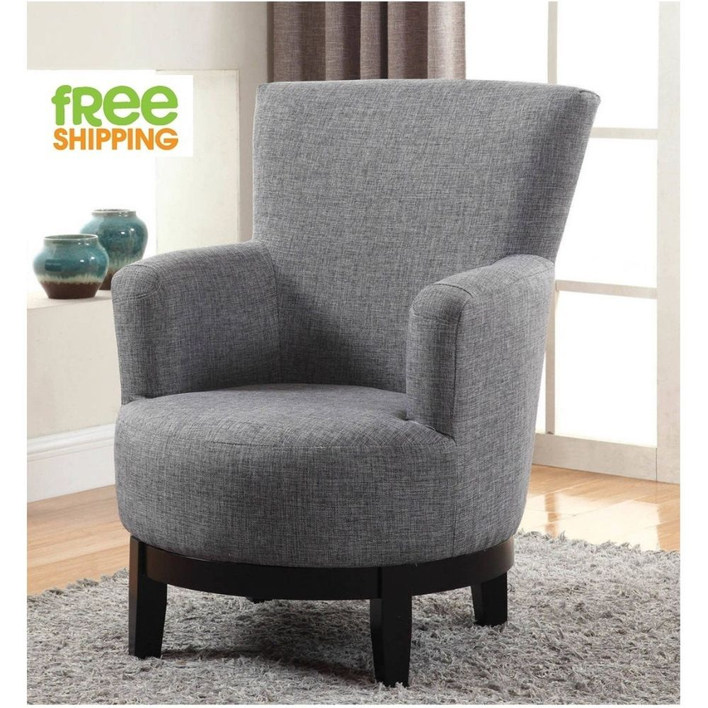 Swivel accent chair upholstered comfortable elegant armchair solid wood grey