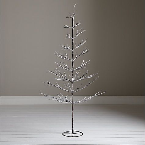 Buy John Lewis Pre-Lit Snowy Twig Christmas Tree, White, 6ft ...