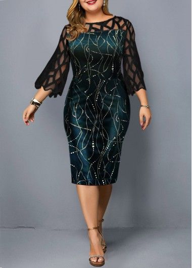 Photo of Plus Size Hot Stamping Mesh Panel Dress | Rotita.com – USD $32.39
