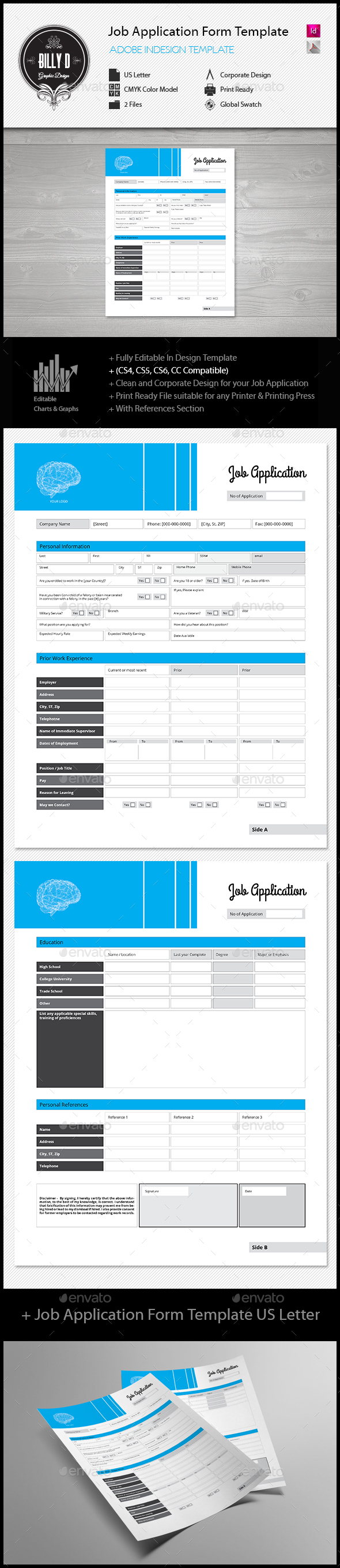 Job Application Form Template Us Letter  Template And Form Design