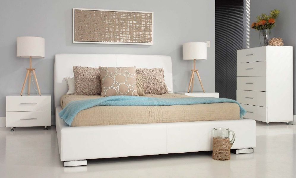 Forty Winks Magnum Contemporary White Upholstered And Gloss Bedroom Furniture Suite With Natural Beige Blue Linen Décor