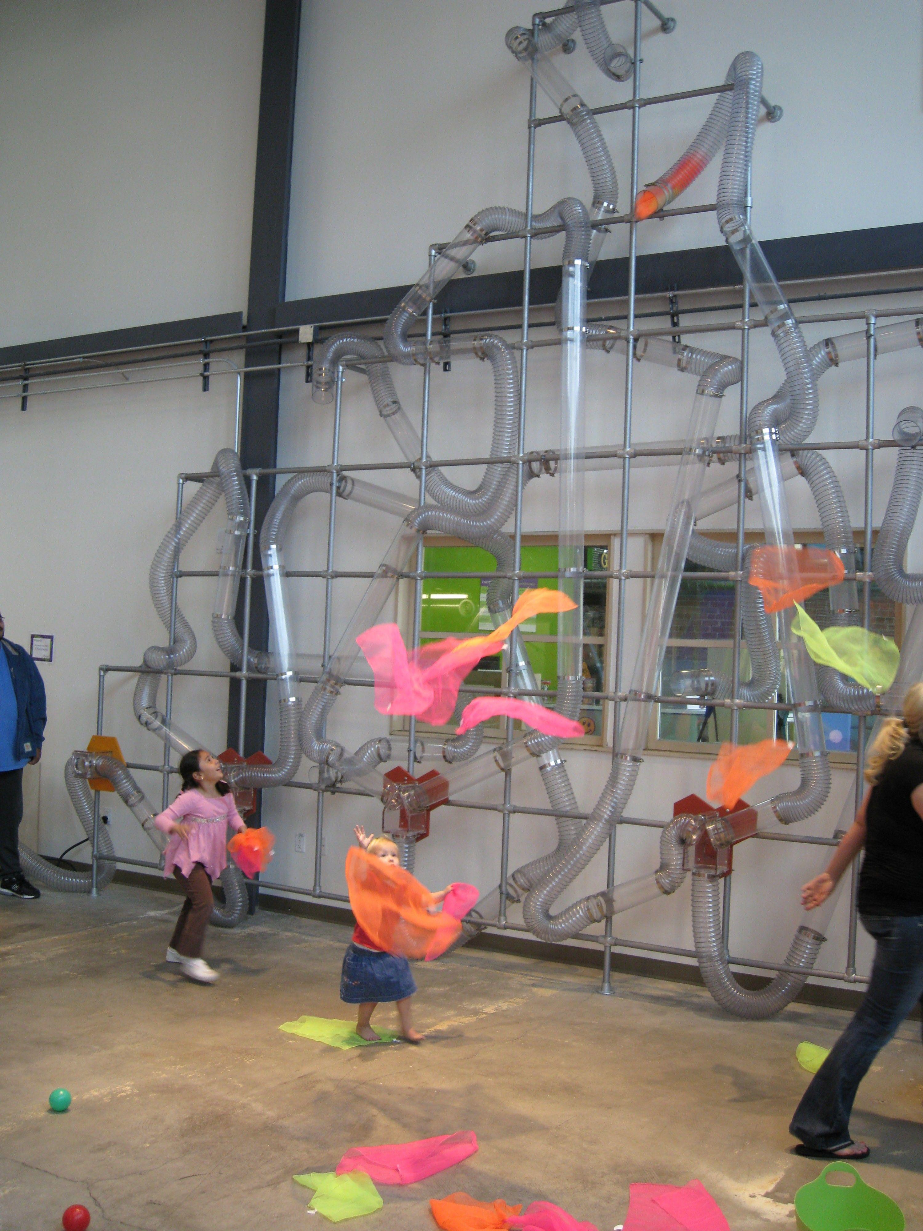 Children S Museum Of Phoenix Whoosh Exhibit Air Transparent Tubes And Bright Scarfs Children Museum Exhibits Childrens Museum Exhibits Childrens Museum