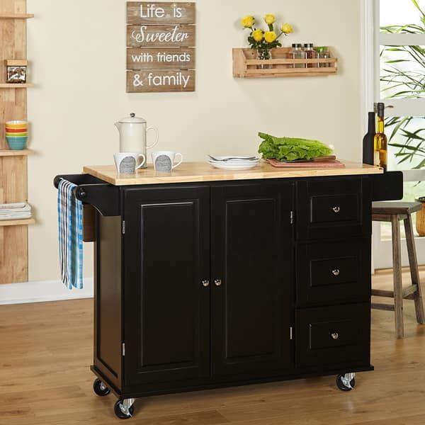 Simple Living Aspen 3 Drawer Drop Leaf Kitchen Cart