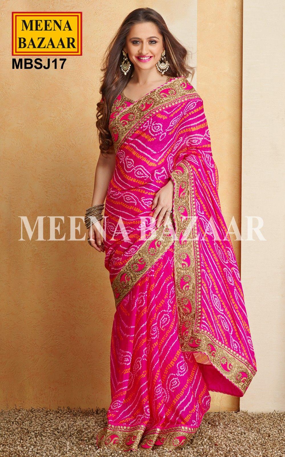 Pink Georgette Bandhej saree | Sarees | Pinterest