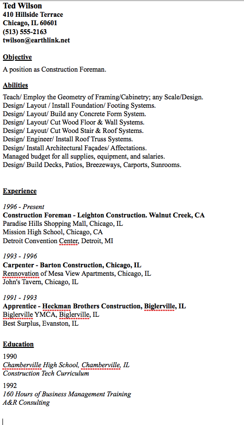 sample of construction foreman resume