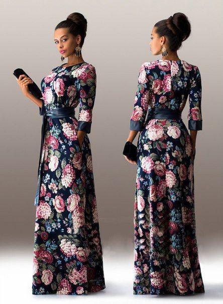9ce863eb8b7 Women Summer Dress Fashion Print Maxi Dress Women Casual Elegant ...