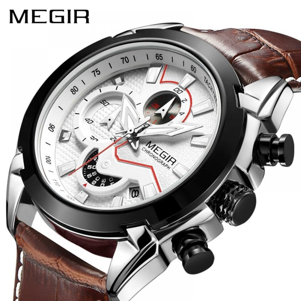 MEGIR Military Sport Watch Men Top Brand Luxury Leather Army Quartz Watches Clock Men Creative Chronograph from Watches Extreme