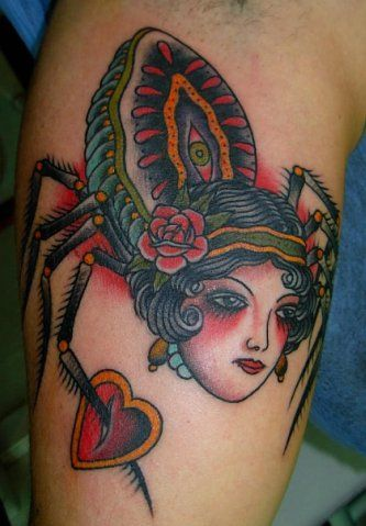 Ink It Up Trad Tattoos | Spider with lady face #tattoo by ...