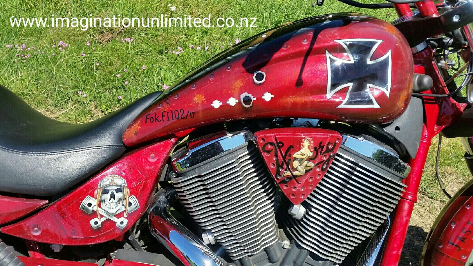 Victory bike painted as the Red Baron with added on 'nose