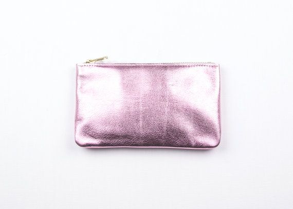 MAE Pink Leather Wallet. Metallic Pink Leather Pouch. Metallic Leather Wallet. Small Pink Wedding Pouch