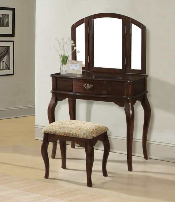 Acme 90091 93 Maren Cherry Finish Wood Bedroom Makeup Vanity With Tri Fold Mirror And Stool Wooden Vanity Vanity Set Vanity Set With Mirror