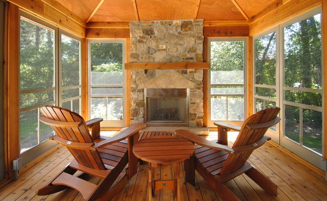 cedar stone portico | Cedar screen porch with stone fireplace ...