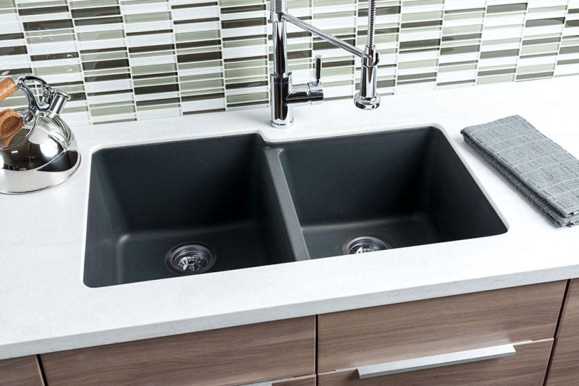 Black Granite 60 40 Double Bowl Model Gr005 View Details Http Bit Ly Hahngr005 Double Bowl Kitchen Sink Composite Kitchen Sinks Sink