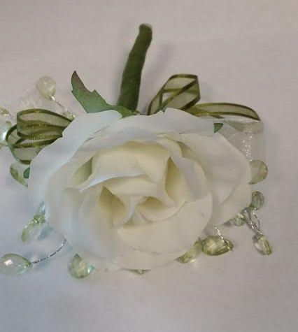 White and Green Corsage by SterlingCottage on Etsy