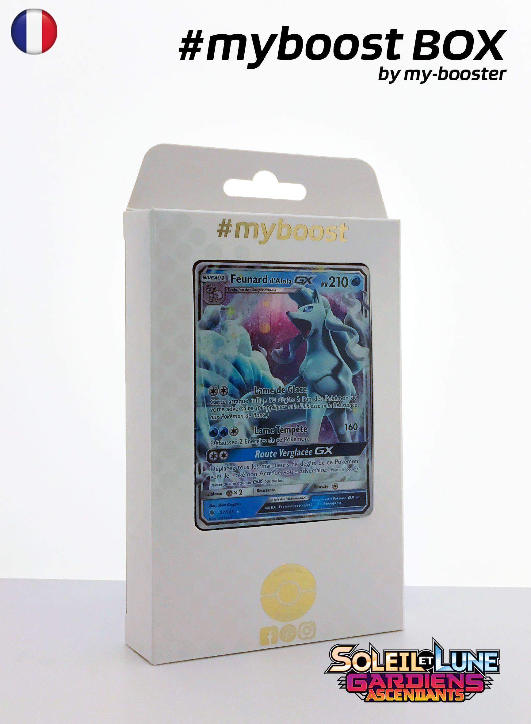 Coffret #myboost FEUNARD D ALOLA GX 22/145 Contient 10 cartes Pokemon francaises Soleil et Lune 2 neuves dont : - la carte FEUNARD D ALOLA GX 22/145 210PV de la serie Soleil&Lune 2 - 1 carte Holographique ou Reverse - 1 carte 100PV - 1 carte 90PV - 1 carte 80PV my-booster, l offre POKEMON PREMIUM