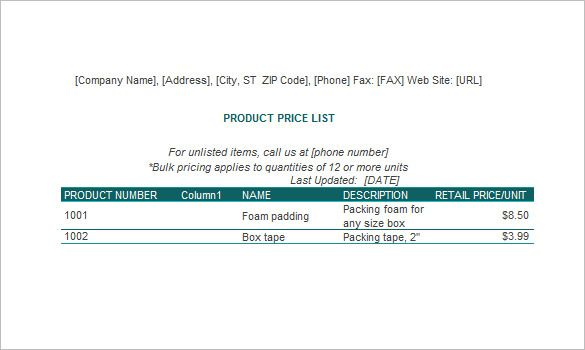 Price List Excel Template  Lists To Add To Get An Attractive And