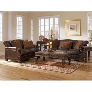 Traditional All Leather Showood Stationary Sofa Nebraska Furniture Mart Living Room Sets Furniture Distressed Leather Sofa Living Room Leather