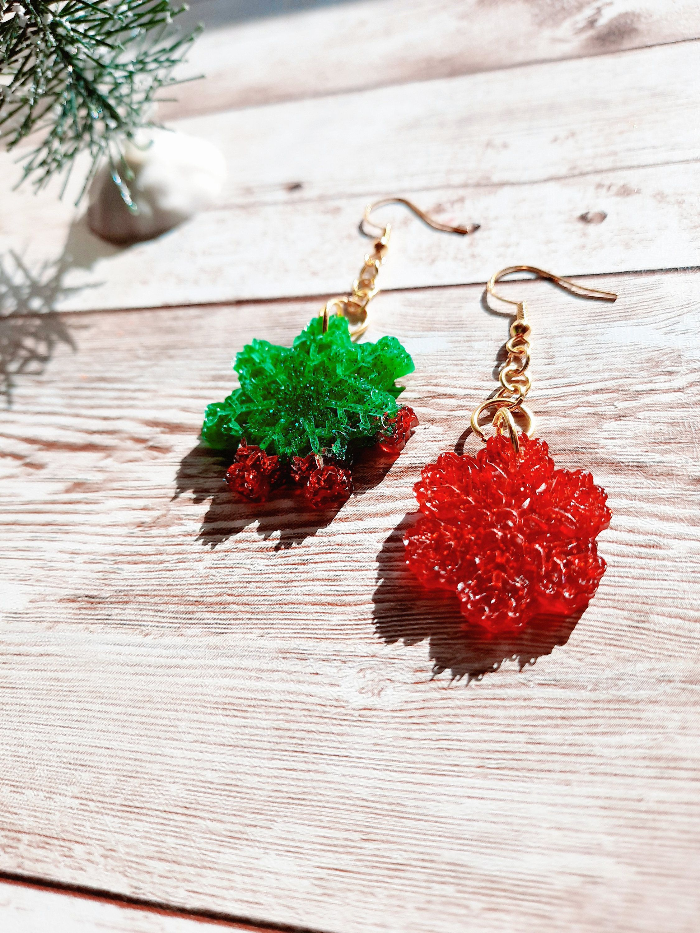 Christmas Tree Glitter Trees Resin Holiday Tree Dangle Earrings Mismatched Earrings Mixed Matched Tree Holiday Earrings Gift For Her