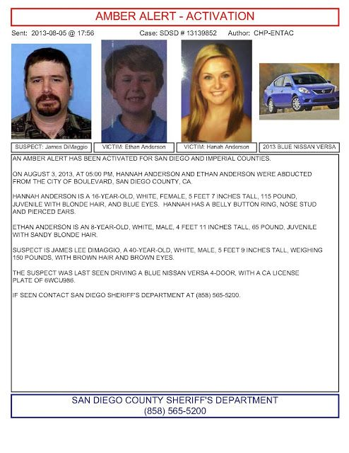 Hannah Anderson Amber Alert For Two Missing Children From Lakeside San Diego County Found Amber Alert Hannah Anderson Missing Persons