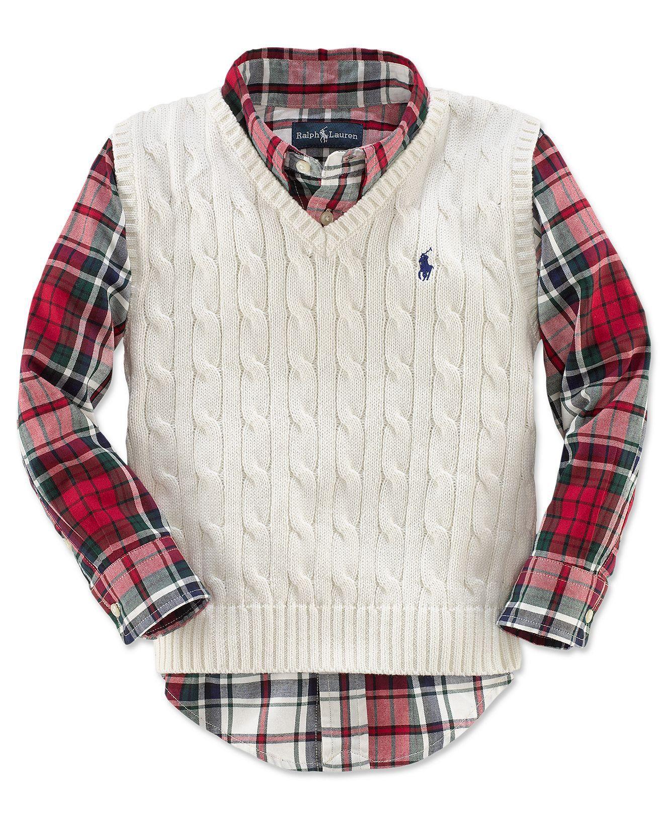 Ralph Lauren Kids Sweater Vest Little Boys Cable Knit Sweater Vest Kids Toddler Boys T T Macys On Wanelo