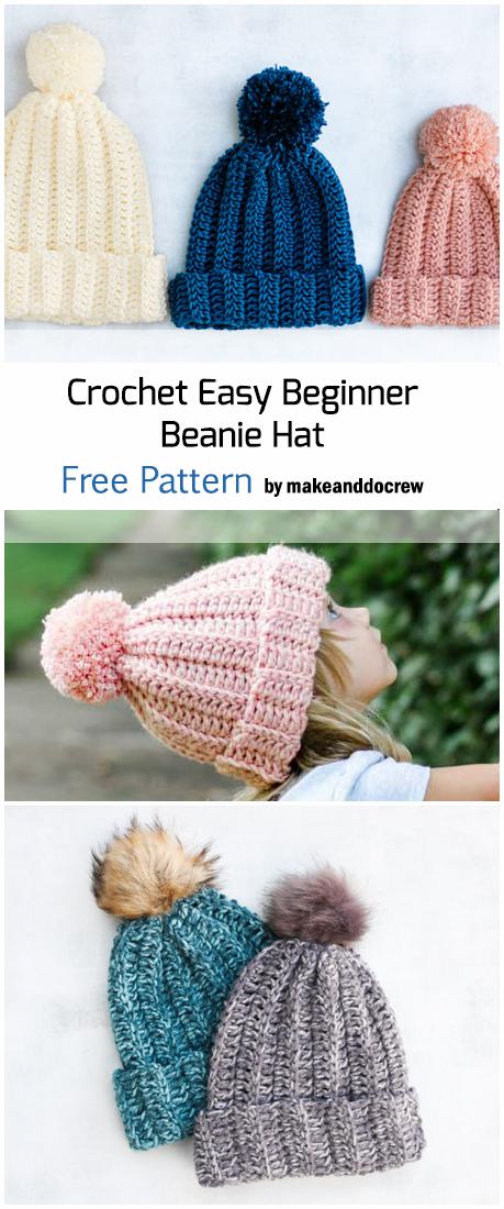 Crochet 1-Hour Beginner Beanie Hats - Free Pattern #beaniehats
