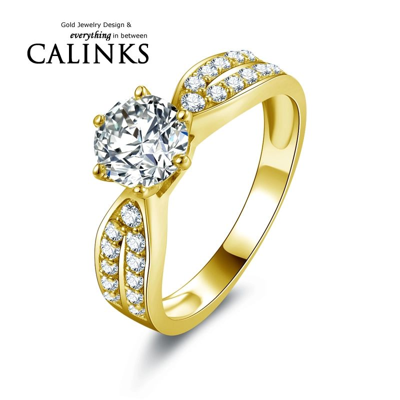 Hot Sell Lady Ring Real 10K Gold Yellow Engagement Rings Jewelry ...