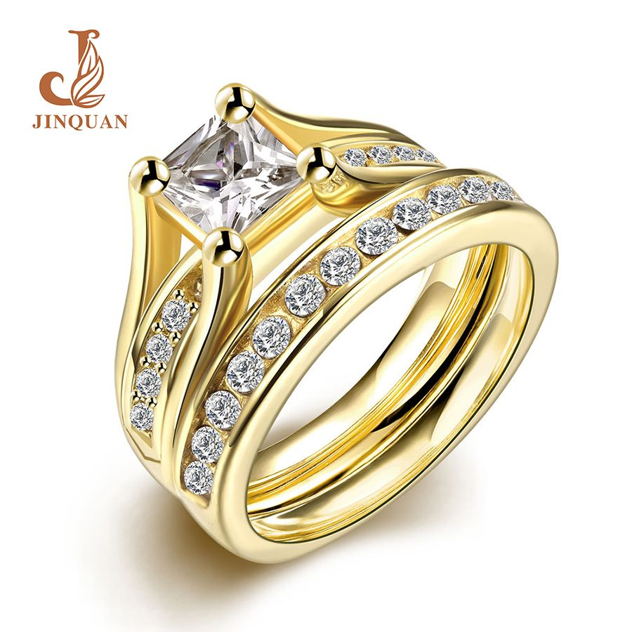 AMDXD Jewelry Stainless Steel Wedding Band Women Engagement Rings Bridal Crystal