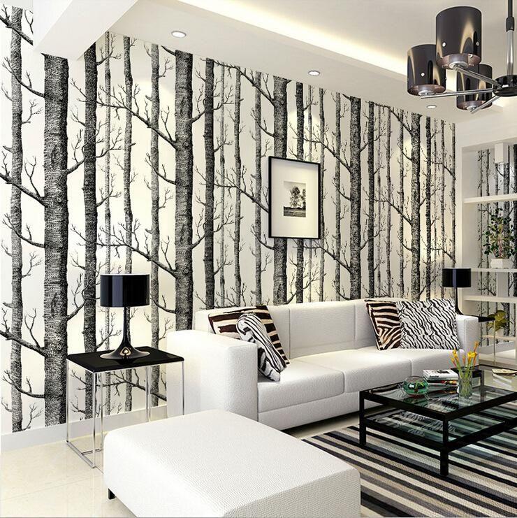 Black White Birch Tree Wallpaper Roll Home Decor