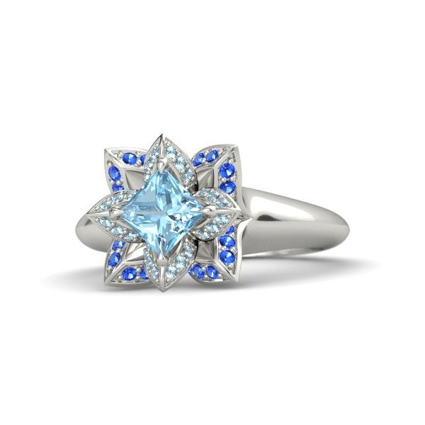 Princess Aquamarine 14K White Gold Ring with Aquamarine  Sapphire   Princess-Cut Lotus Ring   Gemvara