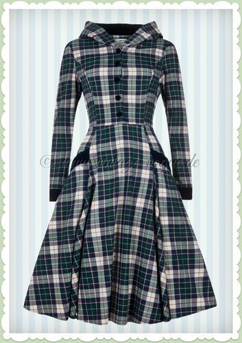 Collectif 40er Jahre Retro Karo Kapuzen Kleid - Ruby Sherwood - Navy Grün