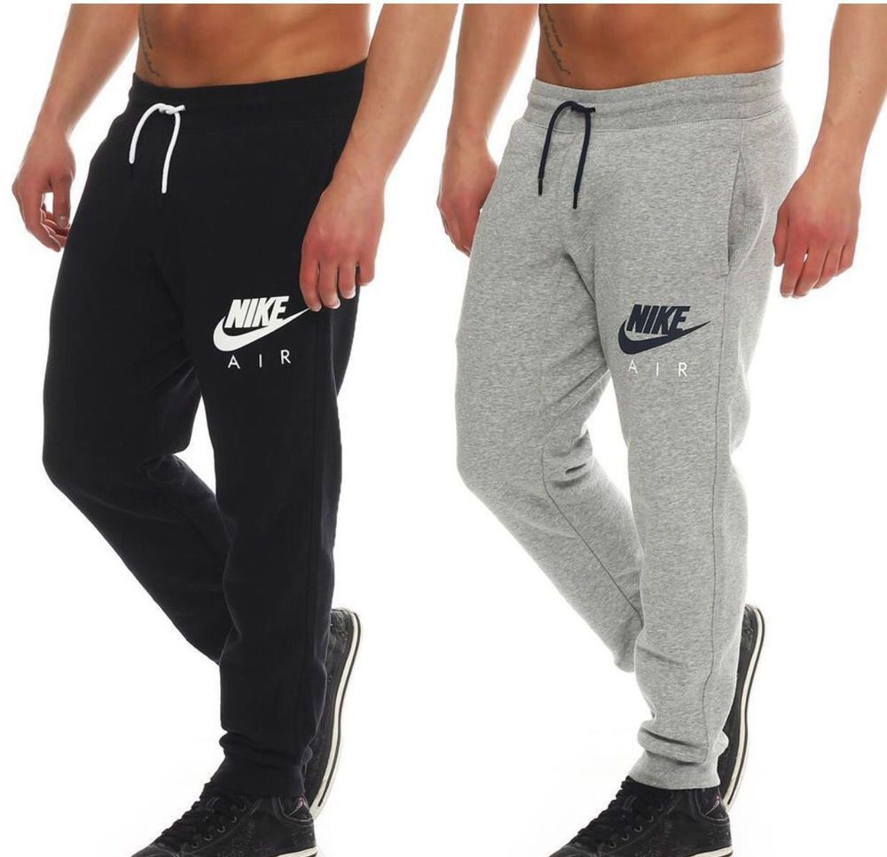03dc7ca9b4e5 Nike New Men s Air Fleece Swoosh Logo Black Grey Tracksuit Bottoms Joggers  Pants