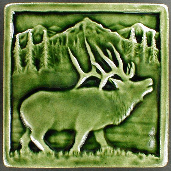 Elk tile, Animal art, decorative tile, ceramic sculpture, art tile, accent tile, wall tile