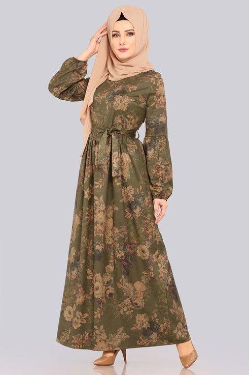 Modaselvim Elbise Dijital Cicek Baskili Elbise 8154et345 Haki Model Pakaian Hijab Model Pakaian Pakaian