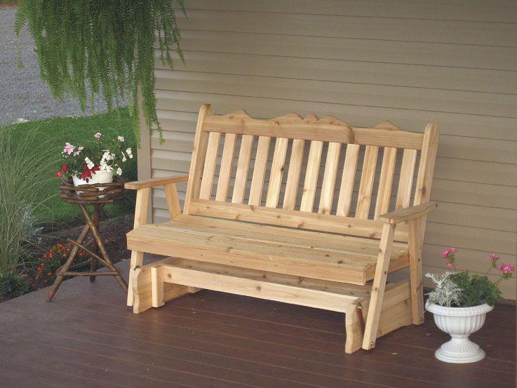 5 Western Cedar Traditional English Porch Glider Porch Glider