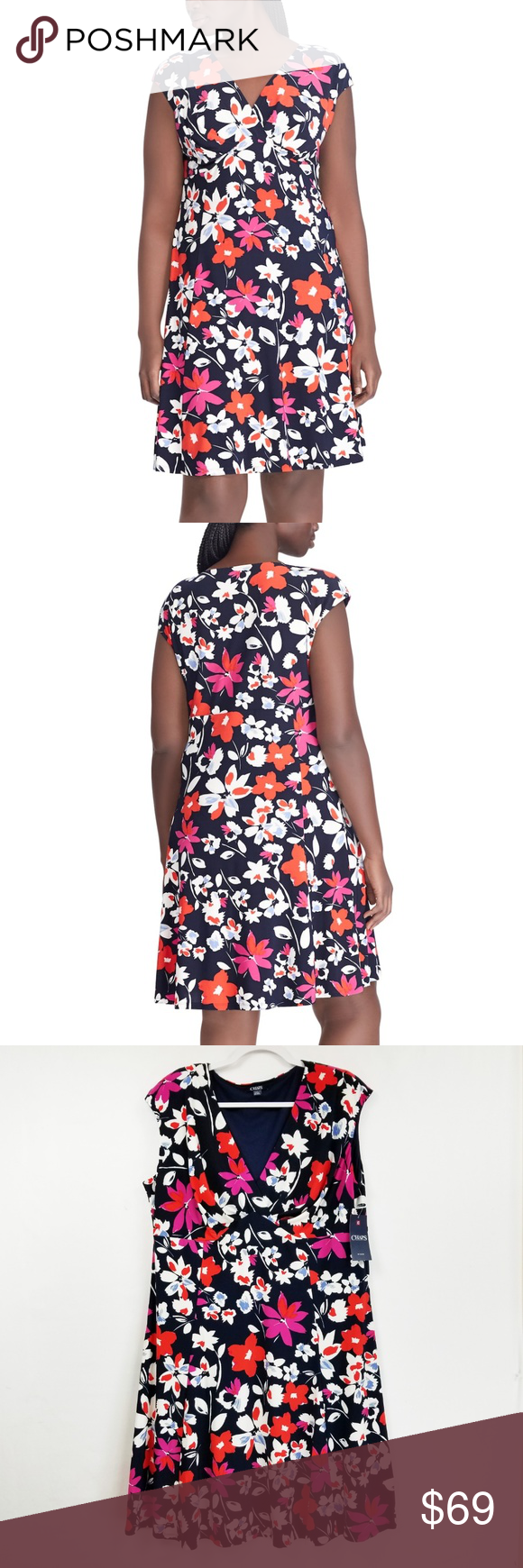ee7626fc11a Plus Size Chaps Floral Empire Dress A pretty floral print and a flattering  empire waistband give this women s Chaps dress a lovely look that flatters.