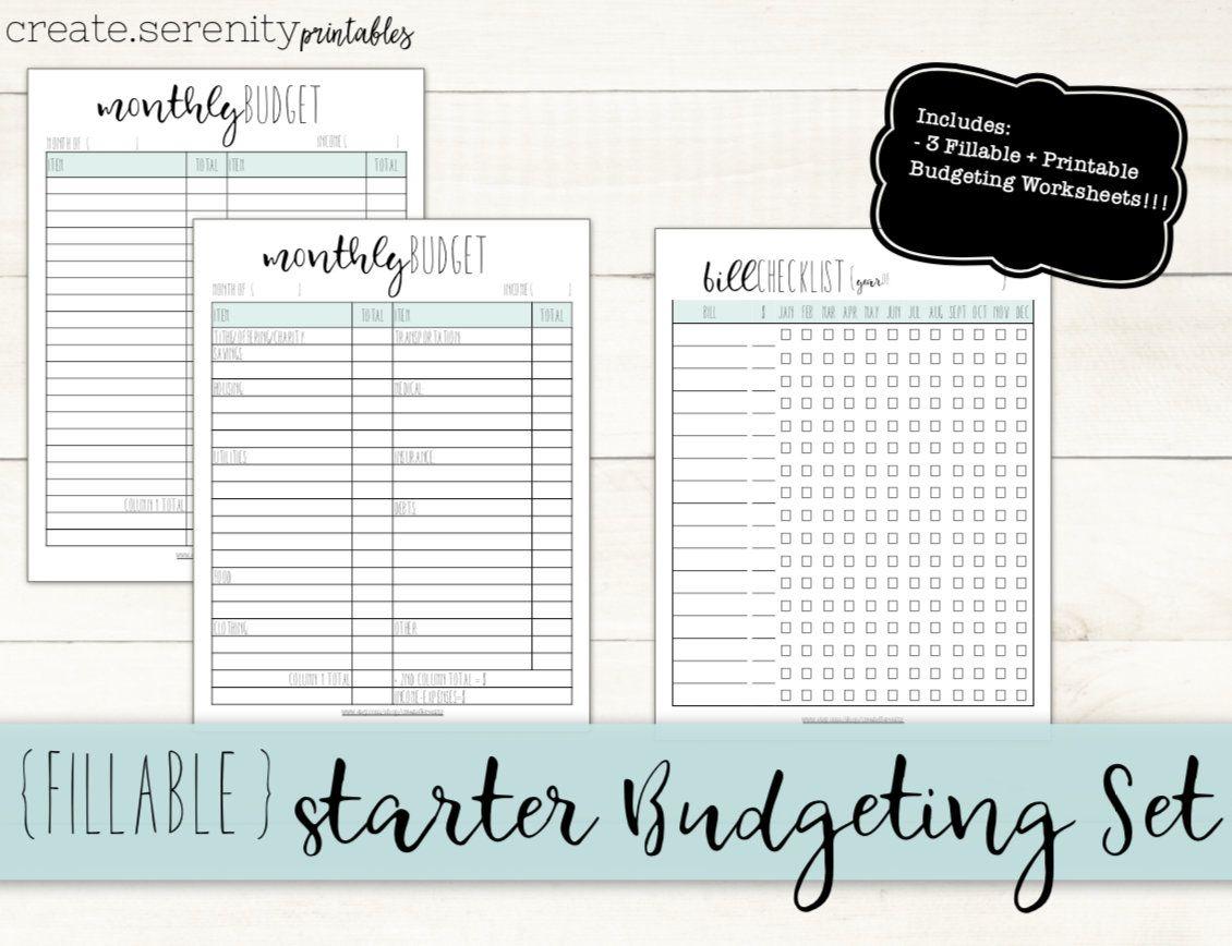 Fillable Printable Starter Budget Planner Printable