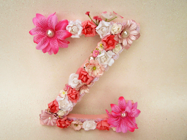Custom Name Letter Floral Letter Z Flower Name Letter Wedding