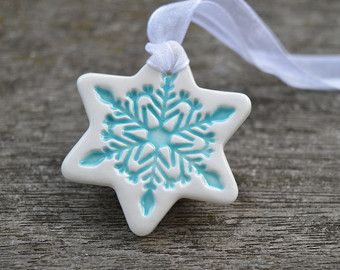 White ceramic Christmas decorations star ornament star by islaclay