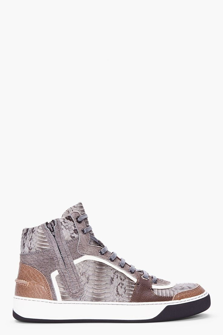 ANVIN grey high-top snakeskin Tennis shoes | 100 Most Popular ...