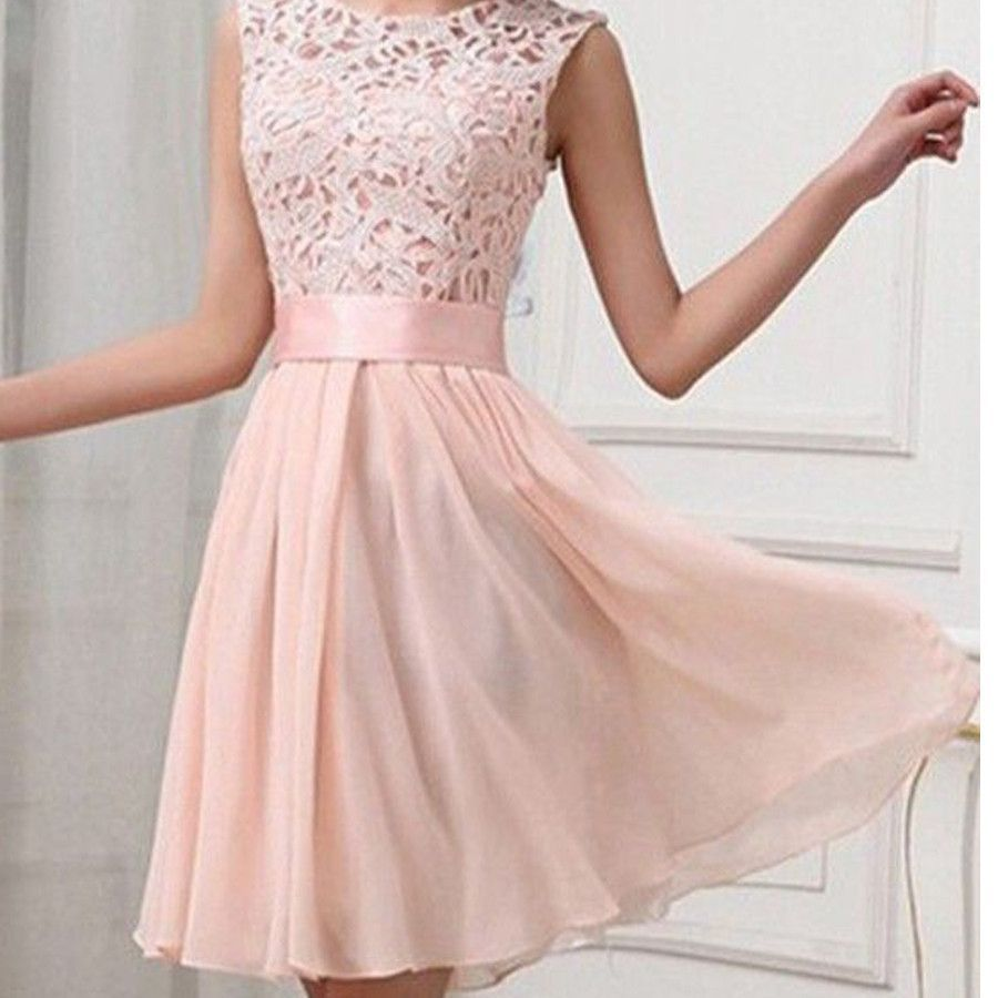 Elegant Light Pink Lace Sleeveless Satin Sash Chiffon Knee Length ...