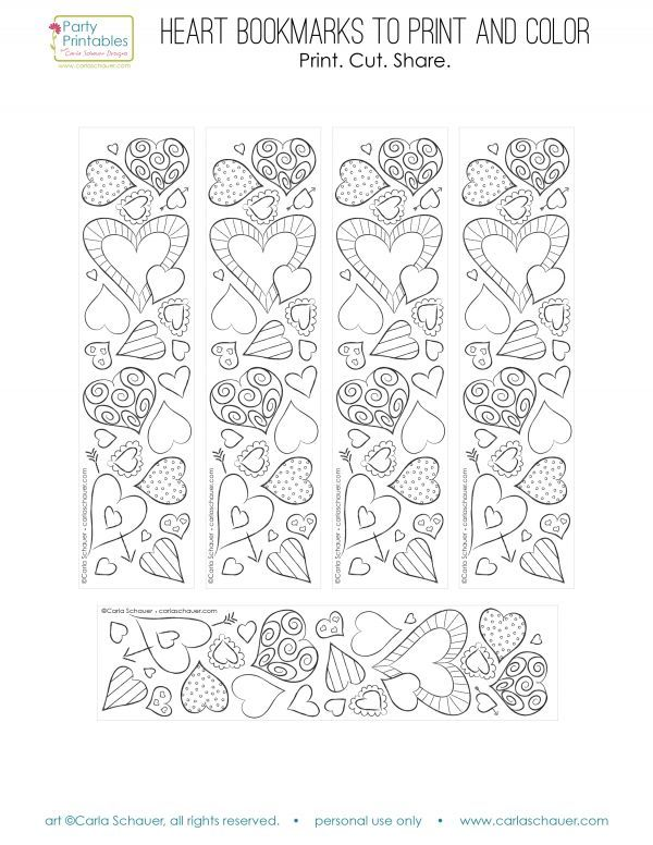 Valentine Heart Bookmarks to Print and Color | Coloring Fun 4 me ...