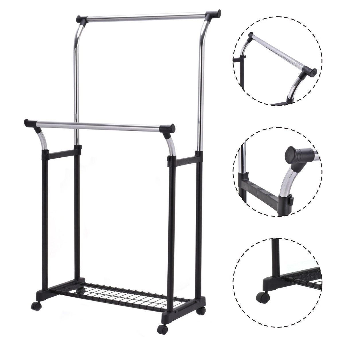 Double Rail Adjustable Garment Rack Rolling Clothes Hanger W Shoe Portable