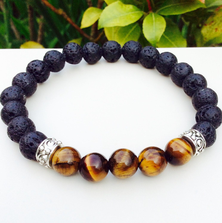 Mens Bracelet Lava Stone And Tiger Eye Gifts For Him Energy Healing Jewelry Gemstone Yoga Mala Bracelets