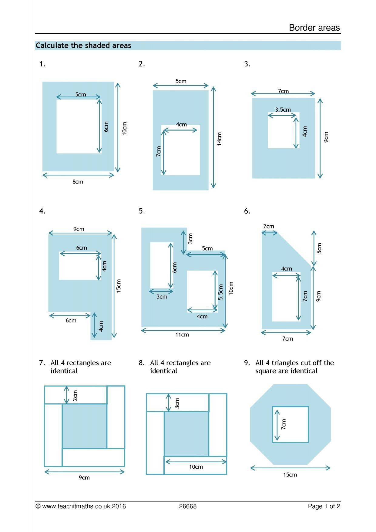 Compound Shapes Worksheet Answer Key Area And Perimeter